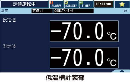 2元冷凍回路によって、室温(23℃)から―70℃までの到達時間約90分が可能に